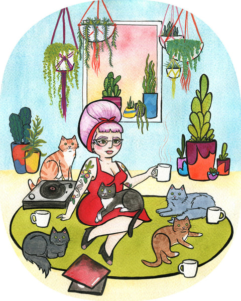 Cats and Coffee Girl - 8 x 10 Coffee Art Print Cat Art Print Crazy Cat Lady Wall Art Watercolor Painting