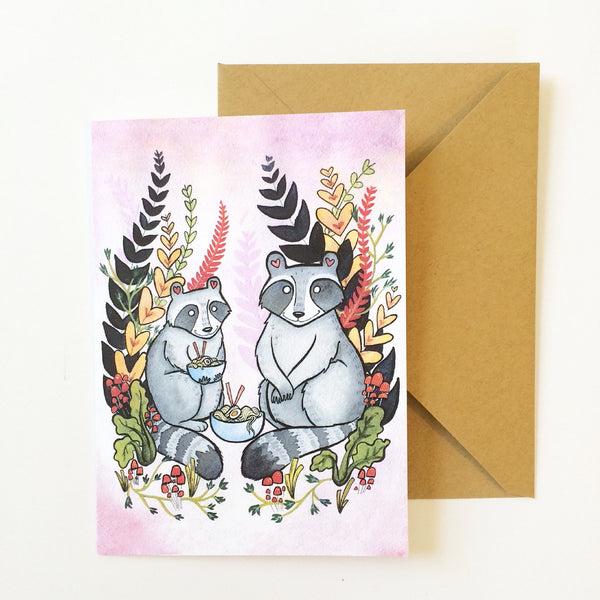 Raccoons and Ramen Noodles Art Card