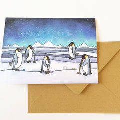 Penguin Croquet Card