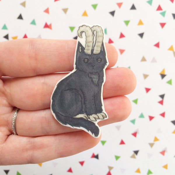 Black Phillip Cat- Halloween Cat Brooch Black Phillip Cat Pin -  The Witch cat pin - cat jewellery -Halloween Pin - Unique Boutonnière