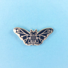Moth Cat in Black Enamel Pin