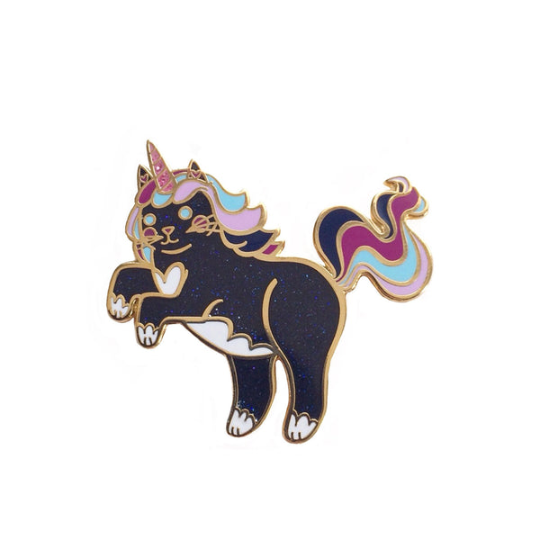 Midnight Unicorn Cat Enamel Pin Gold