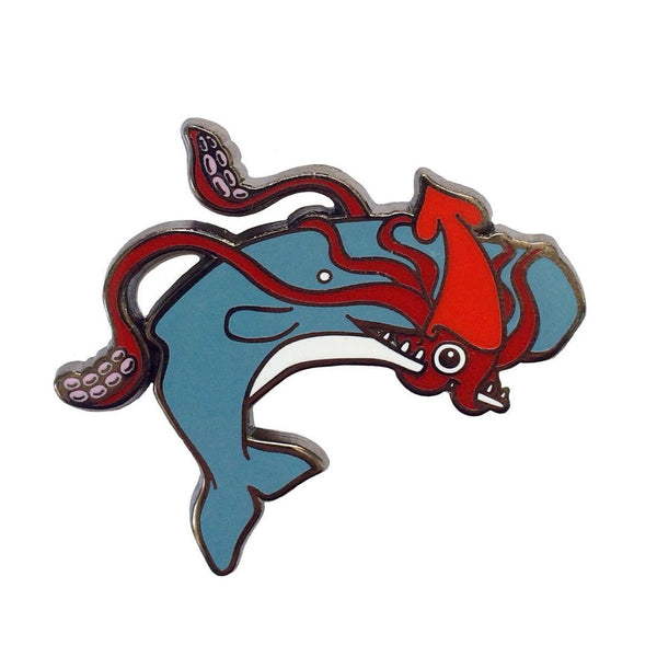 Squid and Whale Enamel Pin