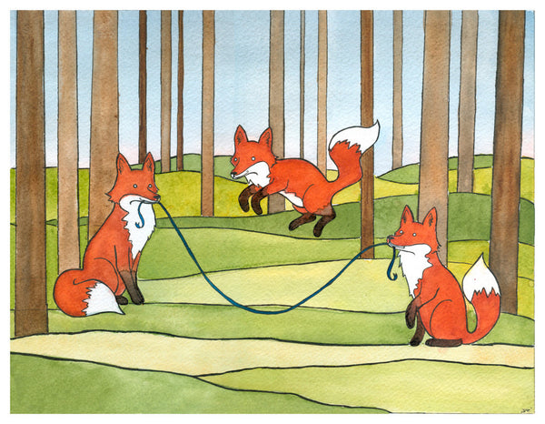 Foxes Jumping Rope Art Print