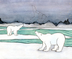 Polar Bears Looking Up at Constellations - Nursery Art Print - Polar Bear Art -Giclee Print - From Original Watercolor Painting - 11x14