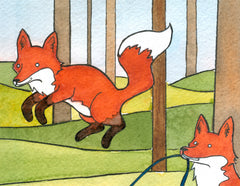Foxes Jumping Rope  Small Art Print - from original watercolor painting 5x7