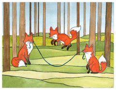 Foxes Jumping Rope Card