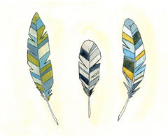 Feathers Art Print  - Feathers - Print - Watercolor - 5x7