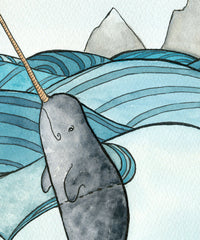 Narwhal Art Print Narwhals in Love Painting - Giclee Print - Watercolor - 11 x 14