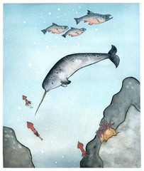 Narwhal and Fish Nursery Art - narwhal art print - from original watercolor painting 5x7