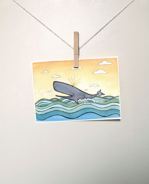 Whale Art Nursery Art Print - The Happy Whale- Print from original Watercolor - 5 x 7