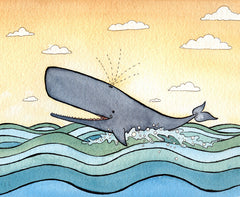 Happy Whale Art Print