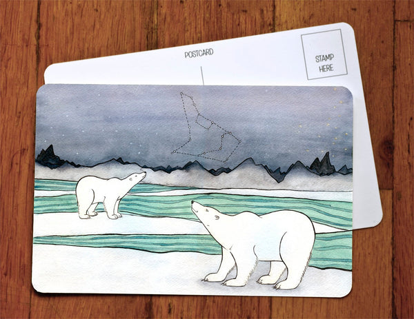 Polar Bears And Constellations Art Card