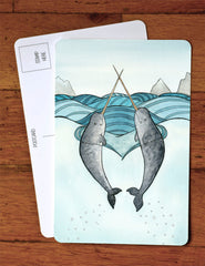 Love Narwhals Art Postcard - Narwhal Art Card - A6 Greeting Card- from original watercolor painting