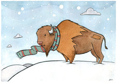 Handsome Buffalo with Scarf Card