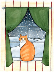 Winter Cat Greeting Card