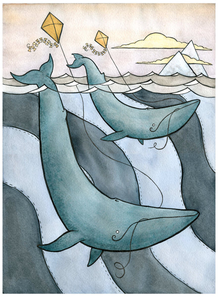 Blue Whales Flying Kites - Blue Whale Art - Nursery Art -Giclee Print - Whale Watercolor - 11x14- large print