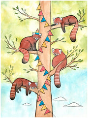 Red Pandas Hanging Banner for a Party - Red Panda Art - Giclee Print - Small Art - Watercolor - 5x7
