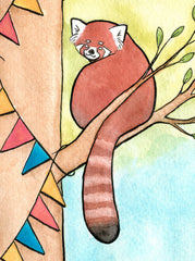 Red Pandas Hanging Banner for a Party-Red Panda Art -Red Panda Party Art Bunting Art- Nursery Art Painting Giclee Print - Watercolor - 11x14