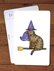 Halloween Card - Halloween Postcard - Witch Cat - Cute Cat - Halloween decor - from original watercolor painting.