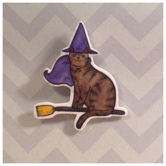 Halloween Cat Brooch  Witch Cat - Halloween Pin - Cat Pin- Unique Boutonnière