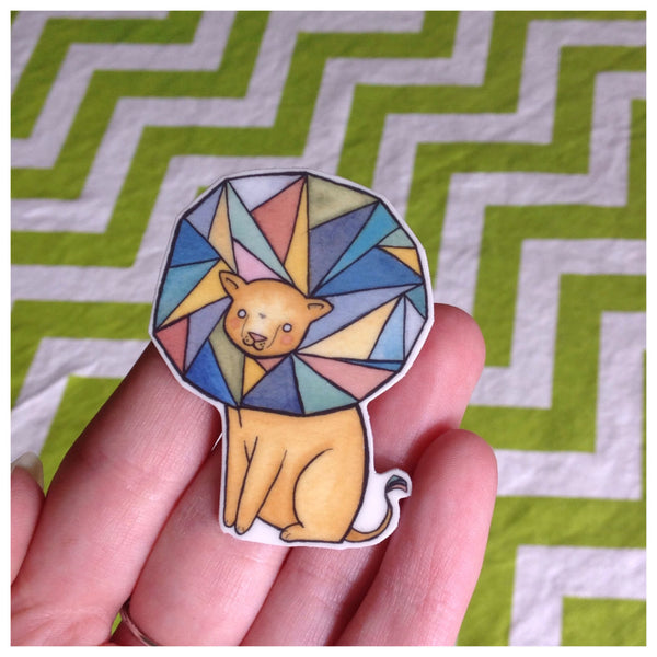 Geometric Lion Brooch