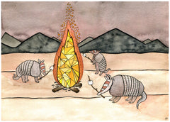 Armadillos Roasting Marshmallows