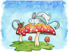 Bunny and Snail on Mushrooms Nursery Art Print Bunny Art Rabbit Art - Giclee Print 8x10 Print from original Watercolor Painting
