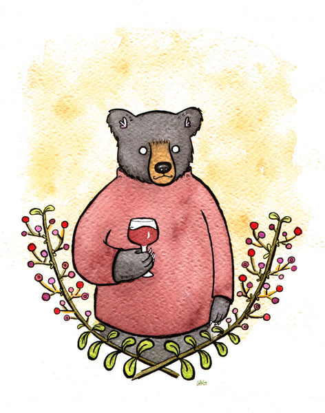 Black Bear Wino- Bear Art Wine Art Bear and Wine- Giclee Print - 8x10 -  Print from original Watercolor Painting