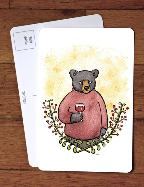 Black Bear Wino - red wine bear - Art Postcard - Holiday Card - A6 Greeting Card -from original watercolor painting