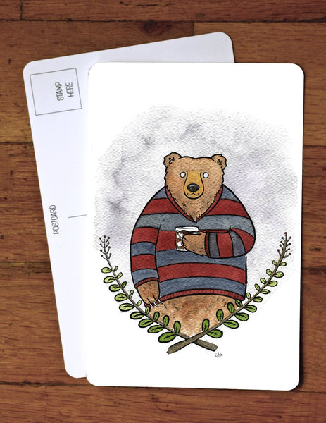 Grizzly Bear and Whiskey Art Card