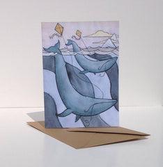 Blue Whales Flying Kites Greeting Card
