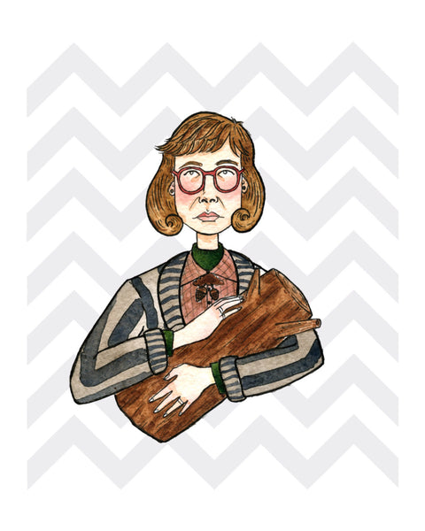 Lady with Log Art print
