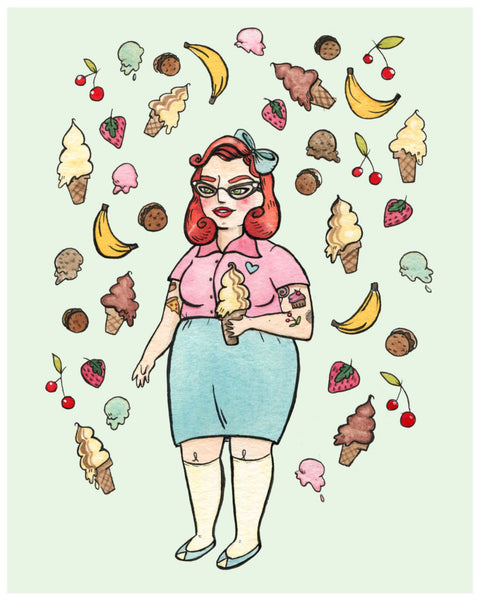 Ice Cream Babe Art Print