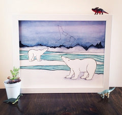 Polar Bear Art - Polar Bears and Constellations Art Print - from original watercolor painting 5x7