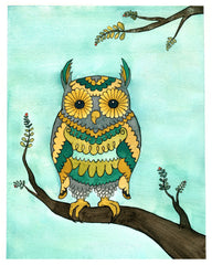 Bright Owl Small Art Print - from original watercolor painting 5x7