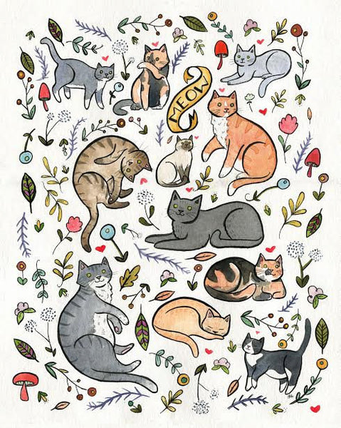 Cats and Plants Art 8 x 10 Print Cat Art Print Crazy Cat Lady Wall Art Watercolor Painting
