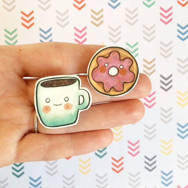 Coffee and Doughnut Brooch Set