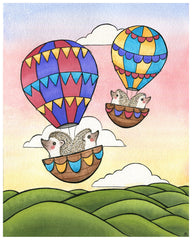 Hedgehogs in Hot Air Balloons