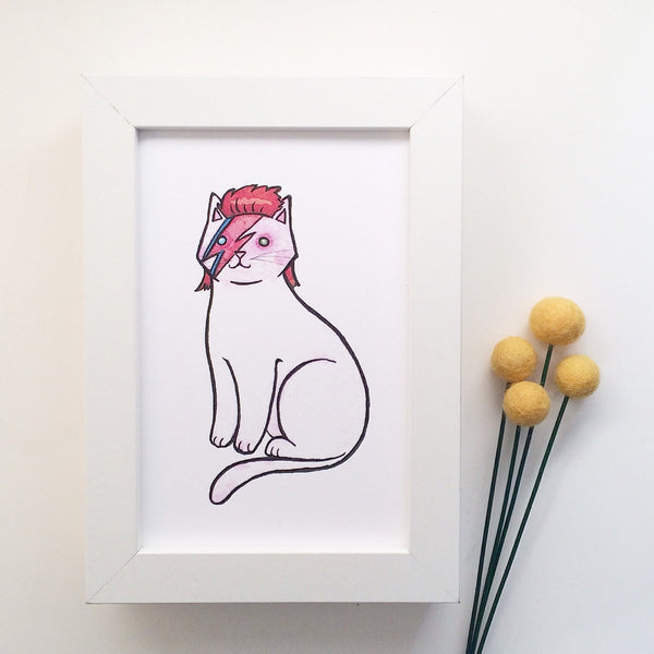 All  Cat Prints - Bowie Cat Print David Bowie Cat Art-  8 x 10 - Unicorn Cat Print