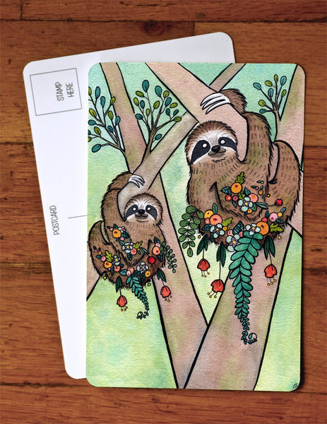 Sloth Garden Art Card
