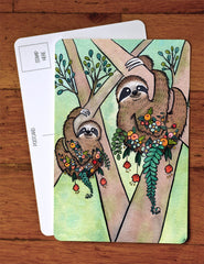 Sloth Garden  Art Postcard -Sloth Greeting Card - Sloth A6 Card from original watercolor painting