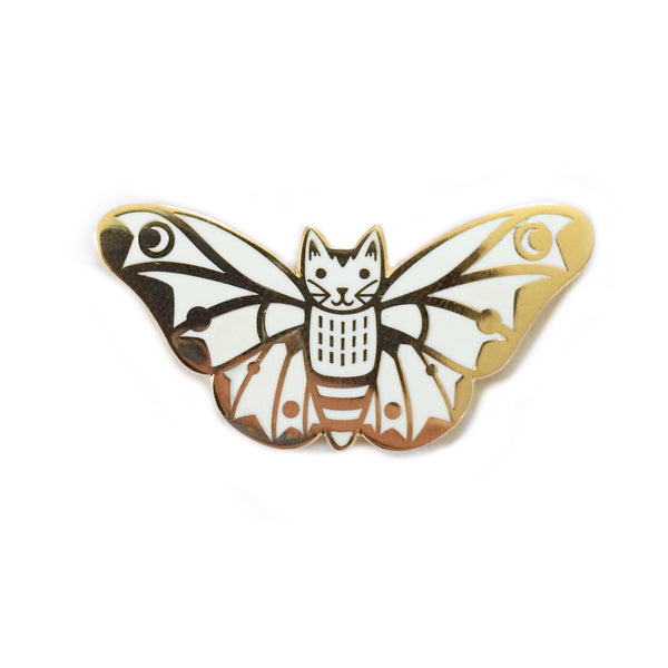 Moth Cat Enamel Pin White and Gold