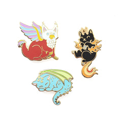 mythical cats pin set