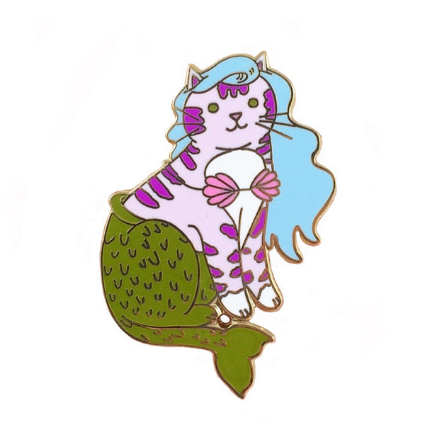Mermaid Cat Pin Sky Blue