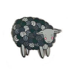 Yarn Sheep in Grey Enamel Pin