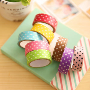 10 rollos washi tape, polka dots