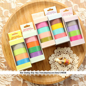 12 rollos washi tape, colores distintos