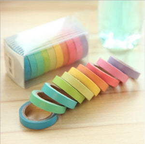 20 rollos washi tape, 10 colores (arcoiris)