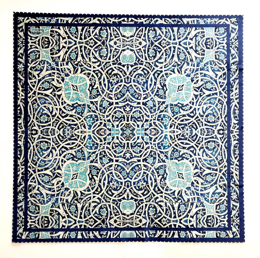 BLue and White Persian Tile pattern Square Table cover Table cloth ...